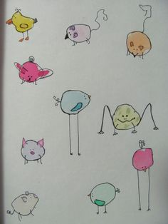 Drawing Doodle How to draw cute little birds (piggies, bunnies.) from a blob of watercolor, outlined then 'accessorized. Watercolor Animals, Watercolor Cards, Watercolor Paintings, Watercolors, Doodle Drawings, Easy Drawings, Doodle Art, Art Inspiration Drawing, Art Plastique