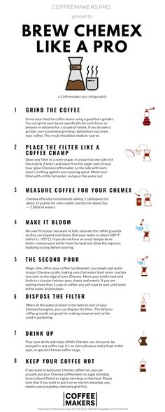 7 easy step to make incredible coffee with a Chemex at home. Brew better coffee with detailed instructions. Extra tips from professional baristas. Bloom Coffee, Coffee Love, Best Coffee, Coffee Shop, Chemex Coffee Maker, Burr Coffee Grinder, Brewing Recipes, Coffee Illustration, Coffee Poster