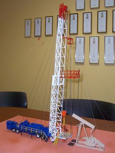 Workover rig model designed and built for Williston State College Workforce Training Program Williston, ND.