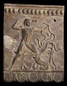 Campana relief With Hercules fighting the Lernean Hydra - restored from Roman period, circa 1st c. A.D. - at the Thorvaldsens Museum
