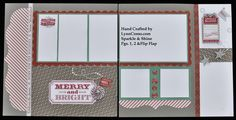 """Holidays with Sparkel & shine papers & accessories. These are pages 1&2 with 8"""" flip flap for my monthly clubs.  Email me to join in @ ilov2cr84u@gmail.com."""