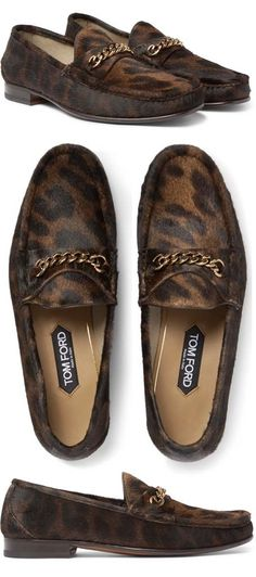 1250cd6ed6 TOM FORD York Chain-Trimmed Leopard-Print Calf Hair Loafers