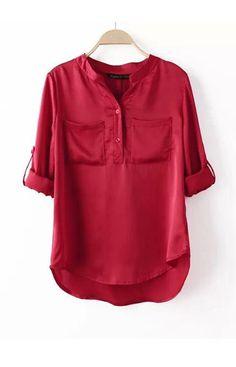 Red V-Neck Pockets Blouse – Trendy Road