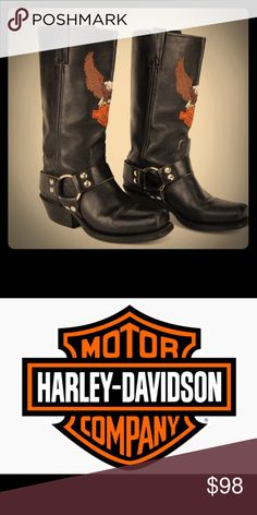 HARLEY DAVIDSON Vintage leather Riding Boots HARLEY DAVIDSON women's, size 6.5 in black leather harness riding boots. Rare Vintage 80's embroidered eagle ankle fitted with square toed motorcycle boots. Perfectly distressed in very good shape. A few small imperfections but absolutely beautiful! Harley-Davidson Shoes Combat & Moto Boots