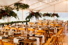 The warm timber hues of our wooden padded folding chairs work perfectly with the clear marquee walls and floral sculptures for Kate and Chris's wedding at Laggan Pub. Photography by Renata. Clear Marquee, Party Hire, Catering Equipment, Table Settings, Table Decorations, Trestle Tables, Floral, Wall