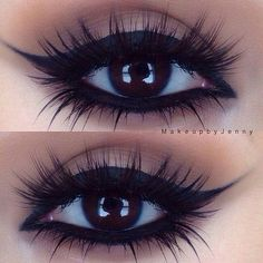 Makeup Ideas -                                                              Love this smokey eye with the shimmering white shadow, especially in the corners of the eyes.