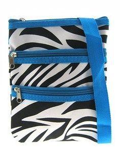 MOM!!!!!!!! Small Hipster Cross Body Bag Purse Blue Trim Zebra Print: Price:$10.25