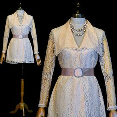 Lov the look & wish I could afford this really awesome Etsy listing at https://www.etsy.com/listing/207328809/vintage-60s-ivory-lace-mini-dress-s