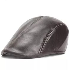 c235d20a Mens Vintage PU Leather Solid Beret Cap Casual Newsboy Golf Comfortable  Cabbie Hat Forward Cap is hot sale on Newchic Mobile.