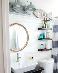 This small Nautical Bathroom features a lot of great DIY Decor Ideas: http://www.completely-coastal.com/2016/06/coastal-nautical-small-bathroom-makeover-diy-ideas.html