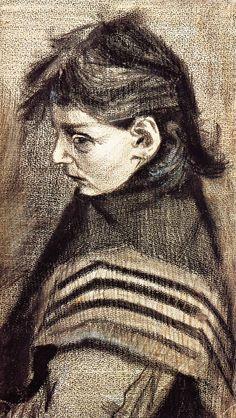 Vincent Van Gogh - Sien's Sister with Shawl 1883 Chalk and Graphite cm Otterlo, Collection Kröller Müller Museum Vincent Van Gogh, Van Gogh Drawings, Van Gogh Paintings, Desenhos Van Gogh, Van Gogh Arte, Theo Van Gogh, Van Gogh Pinturas, Artist Van Gogh, Art Van