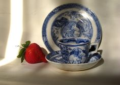 Antique Flow Blue 3pc Childs Tea Set-1880 by GentlemanlyPursuits