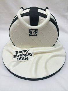 Black and White Chanel Bag Cake #birthdaycake #blueribbons