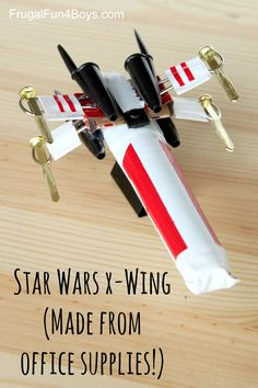 Here is a fun Star Wars craft for kids that you probably have all the materials for.  Make an X-Wing Starfighter out of office supplies! Aidan and I saw this idea on Instructables and thought it was so fun!  We added duct tape to make ours look more like the real X-Wing. To make one,...Read More »