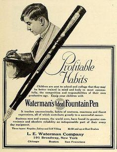 1920 Ad Waterman's Ideal Fountain Pen