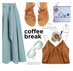 blue coffee by nataskaz on Polyvore featuring polyvore fashion style Temperley London Fendi Chanel clothing