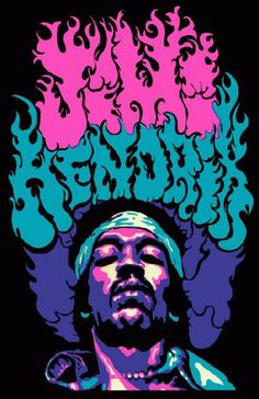 Promotional poster for Jimi Hendrix, The original poster was a vintage head shop poster from 1969. 11 x 17 high quality reproduction on card stock.