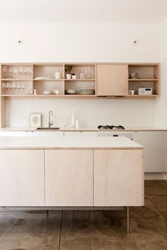 'blush' colored wood cabinets