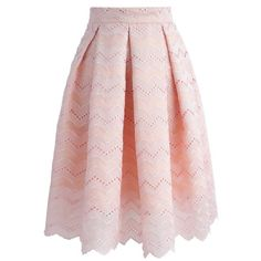 Chicwish Oh-so-sweet Wavy Embroidered Pleated Skirt ($51) ❤ liked on Polyvore featuring skirts, pink, chicwish skirt, pink a line skirt, pink skirt, pleated skirt and knee length pleated skirt