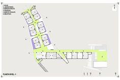 Planta nivel 1. Colegio Santo Domingo Savio. Medellín, Colombia. 2008Obranegra arquitectos School Design, Floor Plans, Diagram, How To Plan, Education, Log Projects, Medellin Colombia, Architects, Atelier