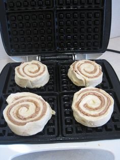 Cinnamon Roll Waffles - brilliant! Great holiday idea. Where's my waffle maker now?