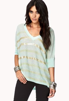 Sequined Striped Purl Knit Sweater | FOREVER21 Metallic daze #Love21 #Stripes #Sequins