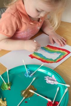 Painting w/ Q-Tips - They make great disposable paint brushes for your little one!