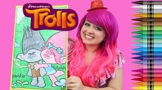 Coloring Branch & Poppy Trolls GIANT Coloring Book Crayola Crayons | COLORING WITH KiMMi THE CLOWN - YouTube