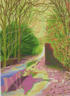 David Hockney The Arrival of Spring in Woldgate, East Yorkshire in 2011 (twenty eleven) - 2 January iPad drawing printed on paper x 108 cm; one of a work Courtesy of the artist © David Hockney Illustration Arte, Gravure Illustration, Illustrations, Ipad Art, David Hockney Landscapes, Landscape Art, Landscape Paintings, David Hockney Ipad, David Hockney Art