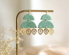 Mint green natural granite summer earrings, Boho style stone effect and gold leaf aesthetic dangle earrings for women Earrings Handmade, Women's Earrings, Handmade Jewellery, Handmade Gifts, Unique Jewelry, Beautiful Gift Boxes, Mint Green, Granite, Boho Fashion