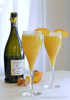 A Peach Bellini is a cocktail made with Prosecco sparkling wine and white peach puree.