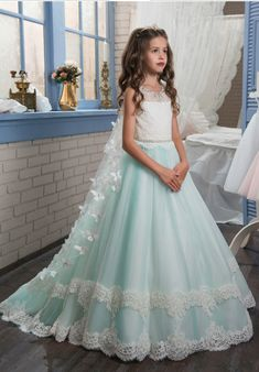 Flower Girl Dresses New Princess puffy ball gown pageant dresses for little girls glitz double lace hem long kids puffy prom dresses with butterfly cape .Flower Girl Dresses.