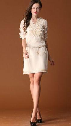 White Short Sleeve V-neck Applique Belt Dress