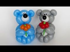 How to make this small lovely bear :) Which can olso be a bracelet on a hand. Need one colored 260 balloon for body, and one white for muzzle and belly, and optionally for bracelet. And scrap of black for nose. Ballon Animals, Fruit Animals, Balloon Toys, Balloon Crafts, Balloon Centerpieces, Balloon Decorations, Balloon Ideas, Balloon Columns, Balloon Arch