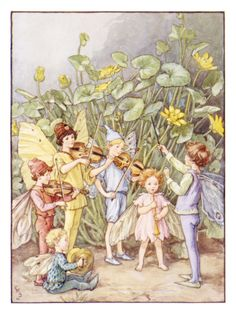 """A fairy orchestra by Cicely Mary Barker, an illustration from The Water Babies. Brown ink and watercolour. The Pre-Raphaelites were a strong, lifelong influence on Barker. She once indicated, """"I am to. Cicely Mary Barker, Flower Fairies, Art And Illustration, Book Illustrations, Vintage Fairies, Fairy Art, Fairy Music, Magical Creatures, Illustrators"""