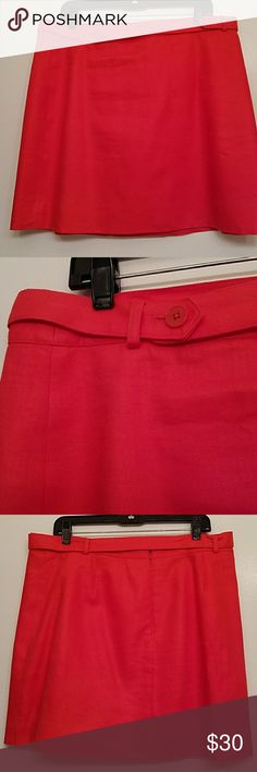 J.Crew linen herringbone skirt Poppy red linen skirt with herringbone design. Back zip. Pretty built in belt that closes with buttons. Lined. This linen fabric is also bonded, meaning it's extra structured and polished.  18.5 inches long, waist from front only seam to seam 18.5 inches.  I also have this in a natural linen color and navy as well. I loved this skirt so much I bought it in 3 colors for work. J. Crew Skirts