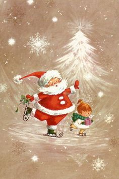 Vintage Christmas - santa skating with little girl