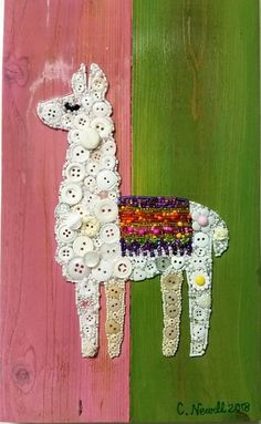 Check out this item in my Etsy shop https://www.etsy.com/listing/602519887/llama-button-art-ooak-unique-gift-llama