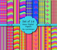 Neon Digital Papers, Scrapbooking Papers, Crafts, Supply, Bright Colored, Cheveron, Polka Dot, Striped, Instant Download, Party Supply - pinned by pin4etsy.com