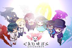 Gatchaman Crowds, Ninomiya Rui, Hibiki Joe, Paiman, Tachibana Sugane, Ichinose Hajime, Utsu-tsu