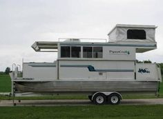 pipercraft trailerable houseboat Trailerable Houseboat For Sale Pontoon Houseboat, Houseboat Living, Houseboat Ideas, Pontoon Boating, Houseboat Rentals, Cool Boats, Small Boats, Pontoon Boat Furniture, House Boats For Sale