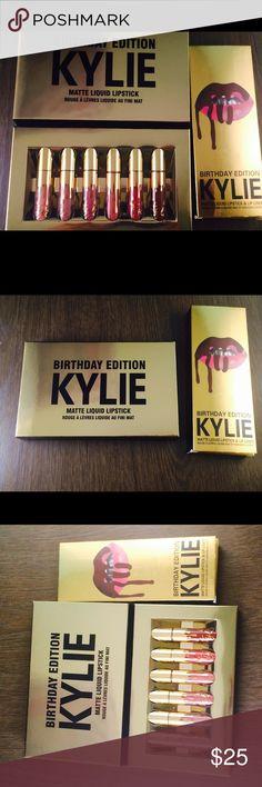 BIRTHDAY EDITION KYLIE COSMETICS & LEO Lipkit ❤New Kylie Jenner Birthday Edition❤  LIMITED EDITION  Kylie Jenner Birthday Edition Mini & LEO Lipkit   Contains: 6 Mini Matte Liquid Lipstick (6 X 0.02 fl oz./oz. liq / 0.65 ml)  1. Exposed (warm mid-tone beige)  2. Dolce K (deep beige nude)  3. Koko K (pale pink)  4. Candy K (warm pinky nude)  5. Kristen (warm brown berry)  6. Leo (true deep burgundy)  FREE Druzy Stud Earrings with purchase of Authentic Kylie Cosmetics!! ⭐️  Free Shipping…