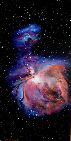 M42 (Orion Nebula). A Hubble Space Telescope Tribute, oil on Panel cm 28 x 55 x 3, made using a palette knife Technique. (Credit: Davide Sigillò - Florence, Italy)