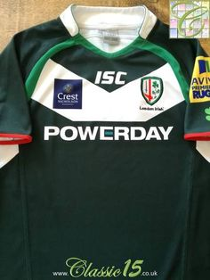 5be7aae74fe Official ISC London Irish home rugby shirt from the 2013/14 season.  Complete with