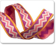 """5/8"""" Fuchsia on Gold Meander picture"""