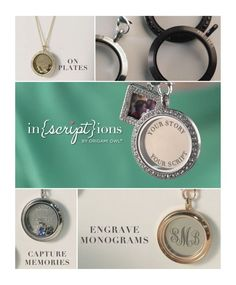 Origami Owl's NEW Inscriptions - tell your stories in your own words—to write your scripts—by customizing select pieces of O2 jewelry.  Coming February 17th!