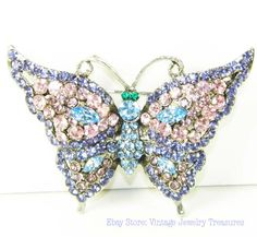 Pastel Rhinestone Butterfly Pin. Ebay store: Vintage Jewelry Treasures $32.99