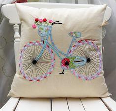 Fahrrad-Kissenbezug Applique Kissen Handcrafted bestickte