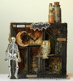 A Spooky Night Shadow Box - Layers of ink. Made for Simon Says Stamp Monday Challenge Blog, using a Tim Holtz Configurations box, lots of Sizzix dies, shrink plastic and more stamps and embellishments by Tim Holtz.
