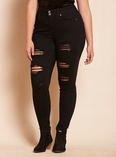 High Rise Skinny Jeans - Black Wash with Destruction, BLACK Size 22
